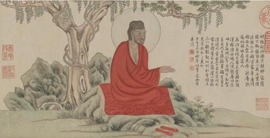 赵孟頫《红衣罗汉图卷》(上图),弘历仿赵孟頫《红衣罗汉图卷》(下图)