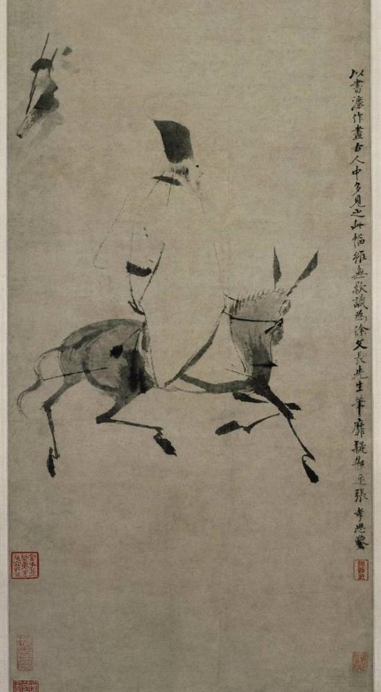 徐渭,《驴背吟诗图》轴,纸本,台北故宫博物院藏
