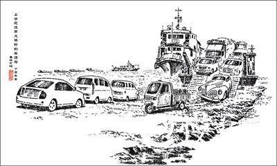 上世纪没有大桥时的车渡船