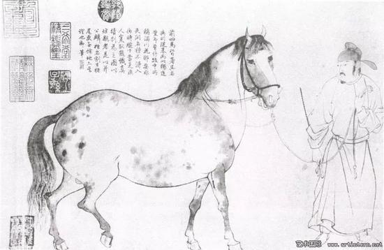 图3 李公麟,《五马图》,局部,宋,藏地不详