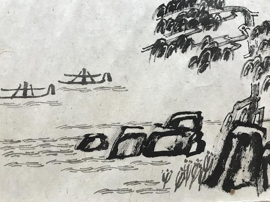 展览中徐冰以文字绘写的山水画