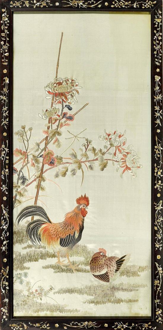 清 红木螺钿刺绣大吉图