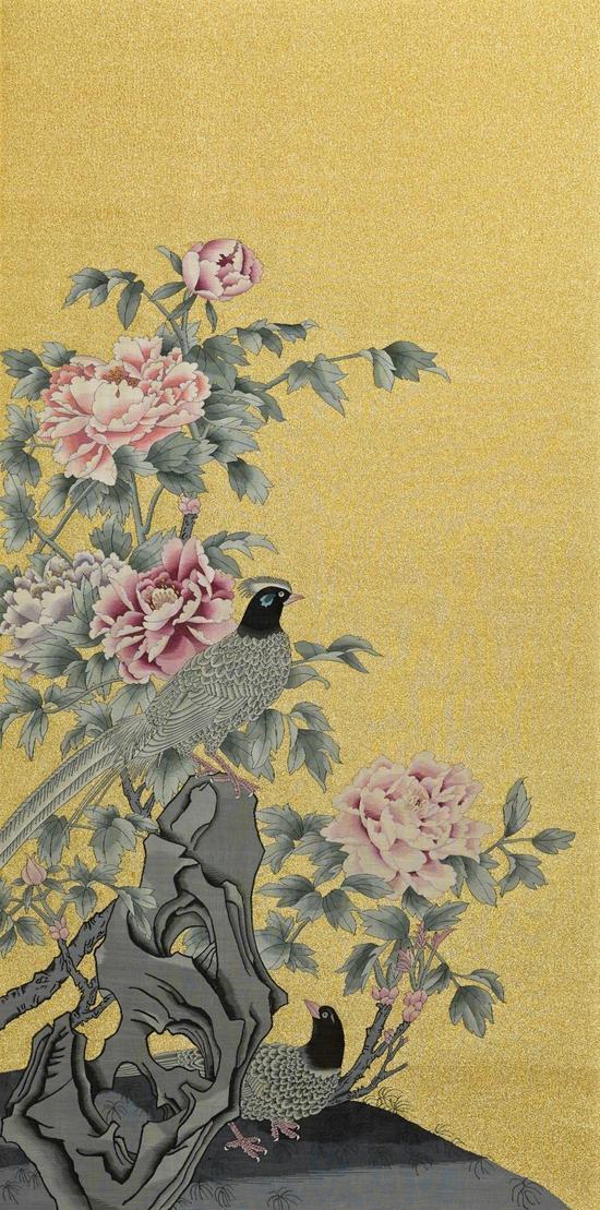 缂丝牡丹锦鸡130×64cm