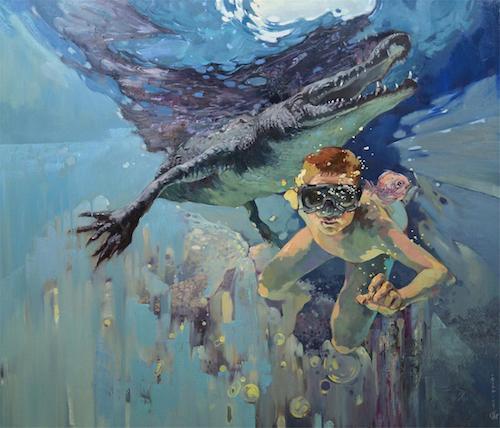 隐秘的交流——组画五《谁才是猎物?》124×145cm布面油画