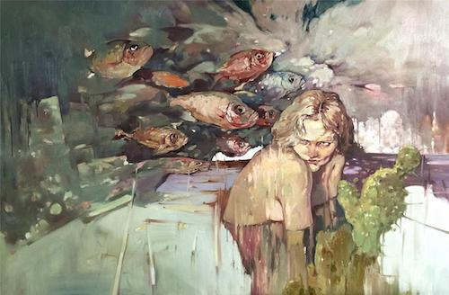 隐秘的交流——组画三《不和谐的音符》100×150cm布面油画