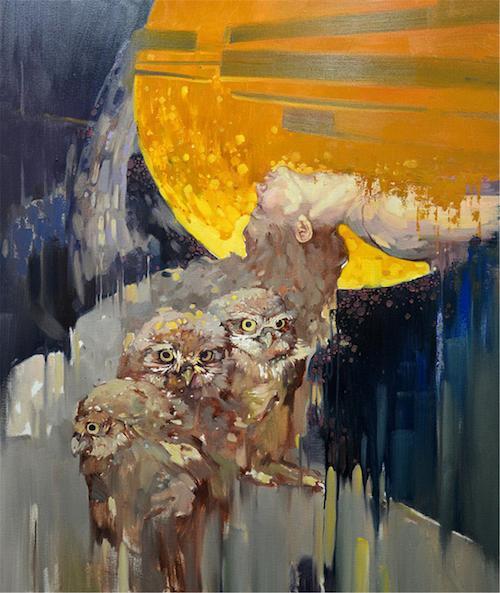 隐秘的交流——组画四《夜鹰之歌》100×120cm布面油画