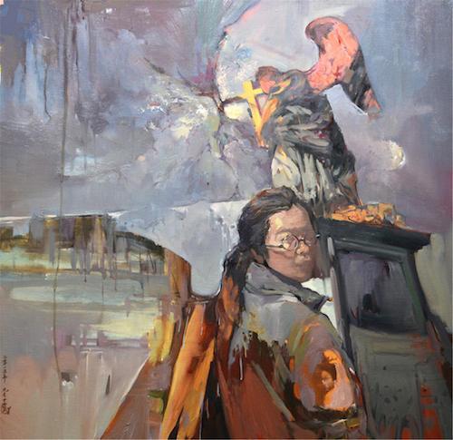 隐秘的交流——组画二《乡愁》100×100cm布面油画