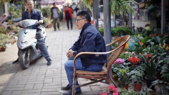 相较于市场里从事花鸟生意的散户,郑先生的花卉买卖有自己一套完整的经营链。