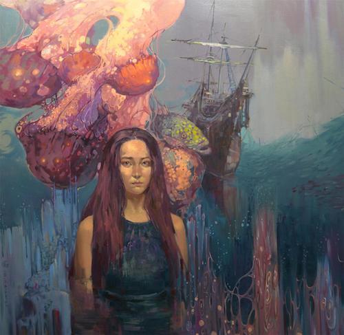 隐秘的交流——组画六《孕育的生命》150×150cm布面油画