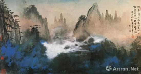 刘海粟《奇峰白云》,93.5cm×172cm,国画,1988年,香港私人藏