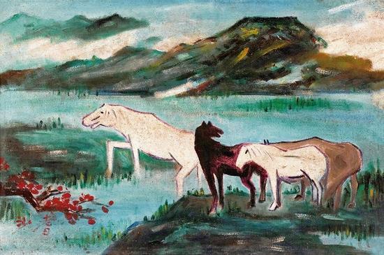 沙耆油画《骏马图》保留老师徐悲鸿对马的象征意义,又有创新