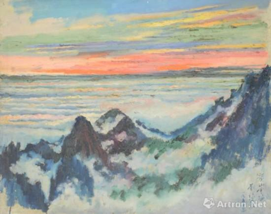 刘海粟《黄山云海》 62cm×75cm 油画 1954年 中国美术馆藏
