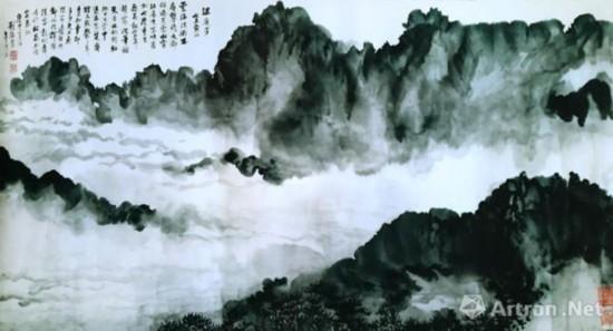刘海粟《满庭芳(泼墨黄山)》 68cm×137cm 国画 1980年 捐赠中国美术馆作品
