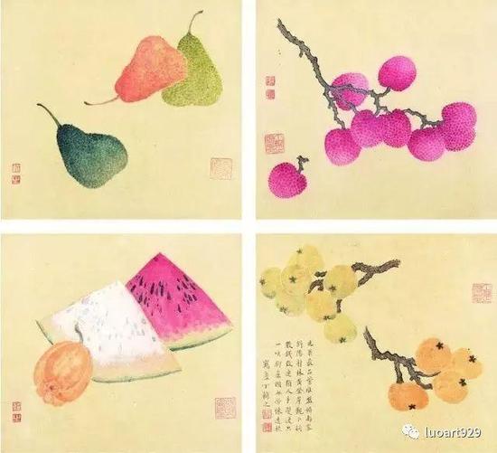 """丁辅之常以苍松、红梅入画,古松图上留有闲章""""天下几人画古松"""",自矜如是,诙谐没有一点不谦虚。"""