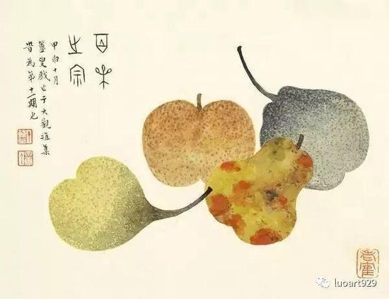 擅画花卉瓜果,极其璀璨芳菲。幼承家学。一度同王禔供职于沪杭铁路局。公余之暇,探讨金石书画。