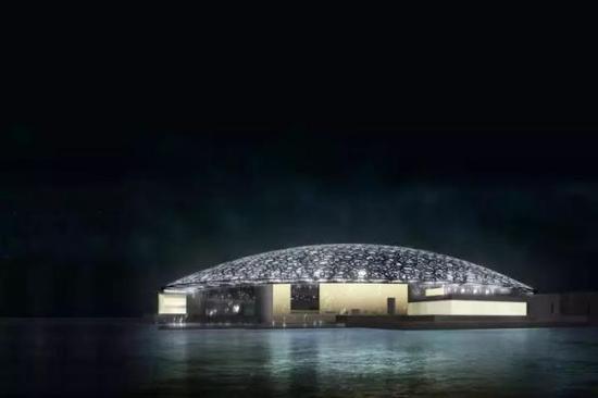 夜晚的博物馆外景