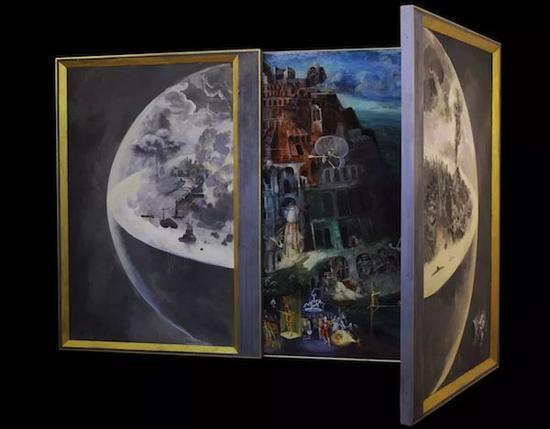 """上海艺博画廊带来的""""永远的绘画""""中画家梁昊鹏《巴别塔》木板油画"""