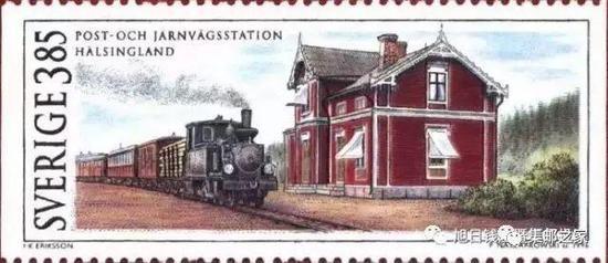 ▲ 1996年4月19日瑞典发行的1套6枚历史建筑物纪念邮票之一:火车站