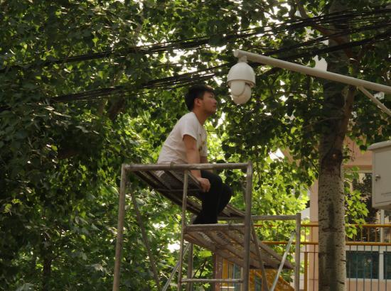 """葛宇路爬上梯子与监控摄像头""""对视"""""""