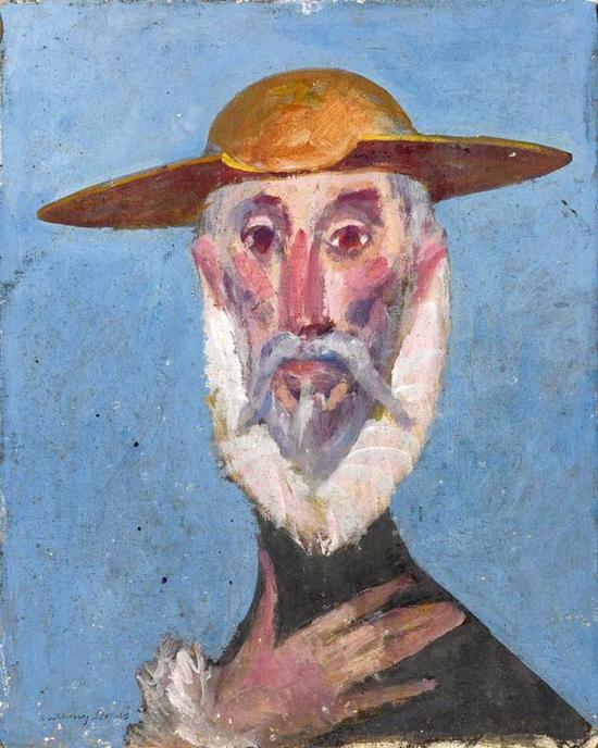 司徒安 世界的堂。吉诃德 50cmX40cm 纸本油画 1984年