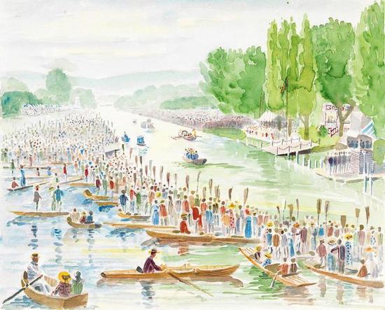 司徒安 英国皇家百年船会十 41cmX51cm 纸本水彩 90年代