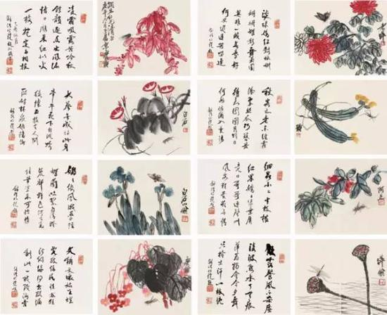 花卉草虫册页