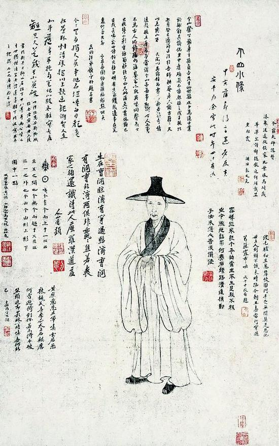 黄安平《个山小像轴》,纸本水墨,97×60.5cm,清,八大山人纪念馆藏