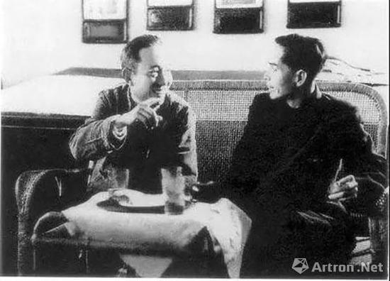 1959年,傅抱石、关山月创作《江山如此多娇》时畅谈