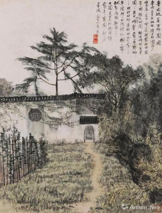 李可染 鲁迅故居百草园 镜心 设色纸本 1956年作 56×43 cm。