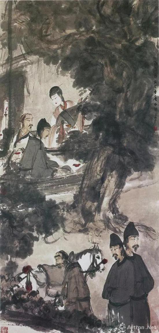 傅抱石《琵琶行》1944年作,南京博物院  同为南京博物院藏《琵琶行》是已出版的最负盛名的一幅