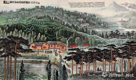 李可染 韶山 革命圣地毛主席旧居 镜心 设色纸本 1974 年作 141.5×243 cm。