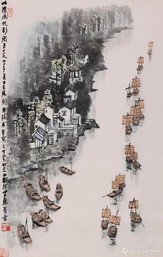 李可染 清漓帆影图 镜心 设色纸本 69×44 cm。。