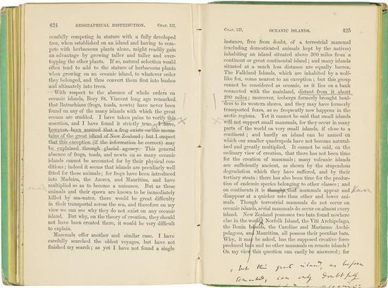 达尔文在《物种起源》中的注释   图自:Christie's