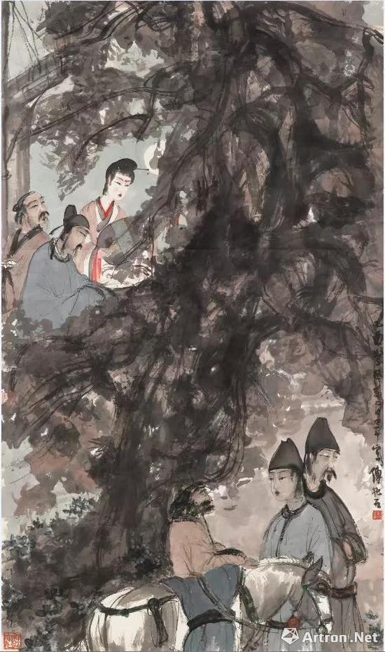 傅抱石《琵琶行》立轴镜框 设色纸本 113 x 66 cm 1945年(拍品)