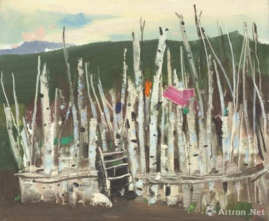 《羊圈》 50x61cm 1998年 油画、布面