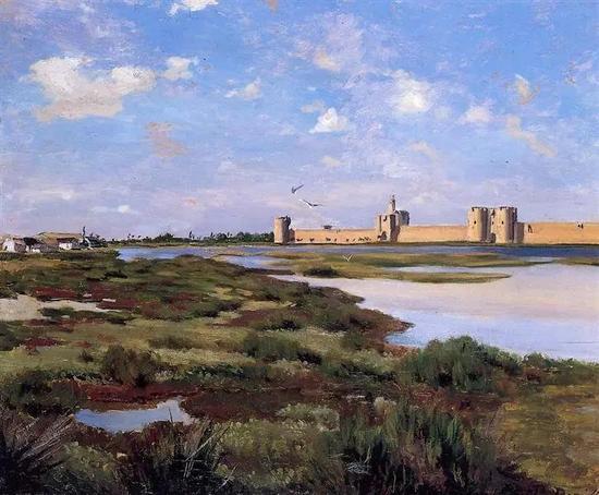 巴齐耶《埃格-莫尔特的风景》,布面油画,1867年