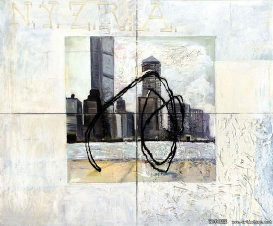 马丁﹒基彭伯格《纽约天际线》(NYZRA),155x180cm,1985