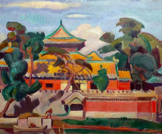安德烈。克罗多 紫禁城 布面油彩 57x70cm 1928年