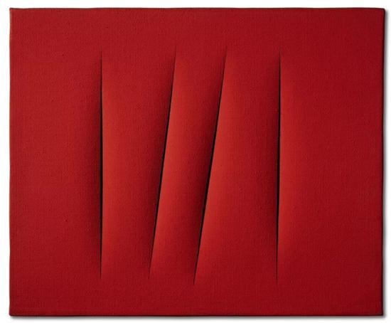 卢齐欧·封塔纳《空间概念,等待》 一九六五年作 水漆画布 38 x 45 公分 7,000,000 - 10,000,000港元