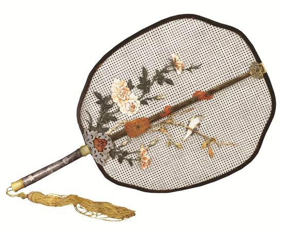 (清)象牙编织嵌象牙染雕花花鸟画珐琅柄扇