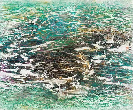 拍品编号332 刘国松(中国,1932 年生) 《春色荡漾: 九寨沟系列之五》