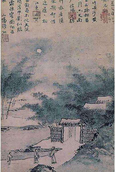 国宝《柴门新月图》,日本室町时代应永12年(1405),前期展品