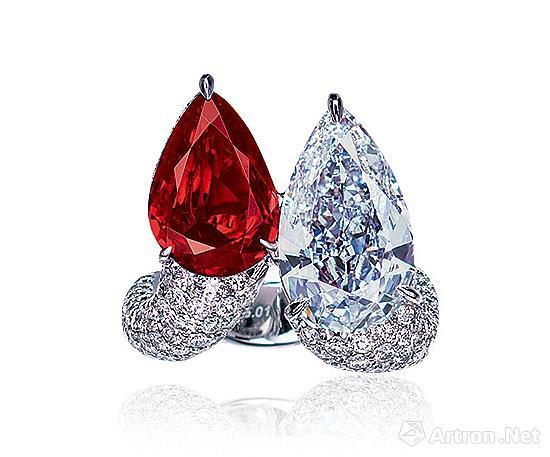 拉缅甸抹谷鸽血红红宝石及约5.0克拉D色IF净度内部无瑕净度钻石配钻石戒指以2162万元成交