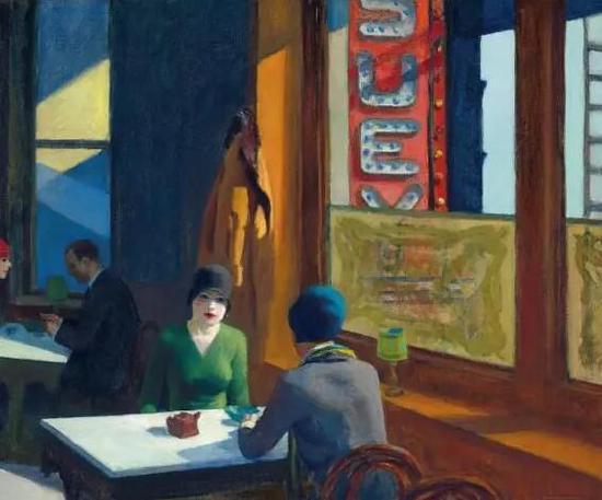 爱德华·霍普《中餐厅(杂碎)》,油彩 画布,81.3 x 96.5 cm。,1929年作