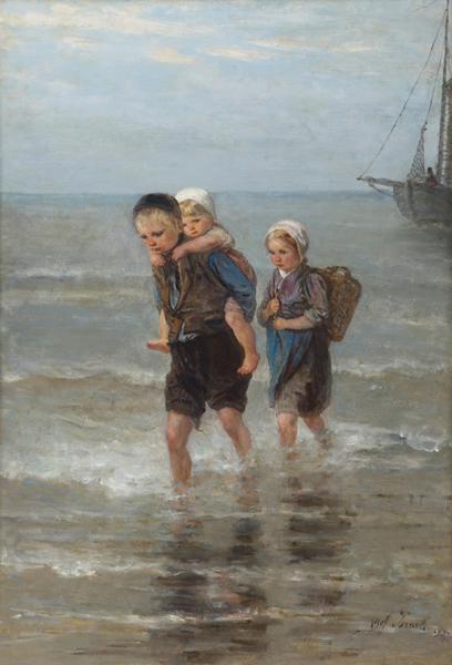 约瑟夫·以色列,《破浪中的孩子》,1877