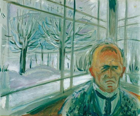 玻璃阳台上的自画像 1930-33年 油彩、油画