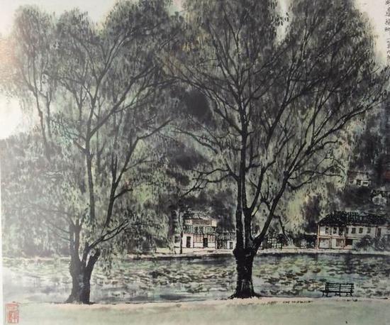 李可染,《湖边杨柳》,44.5X53cm,1956年