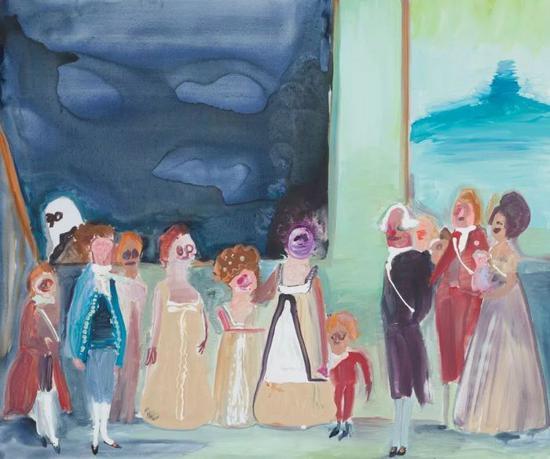"Family (after Goya),38"" x 47"",Acrylic on canvas,2018"