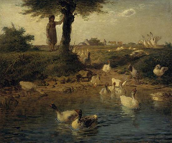 《牧鹅少女》,让-弗朗索瓦?米勒 (1814——1875),1866-1867年,布面油画