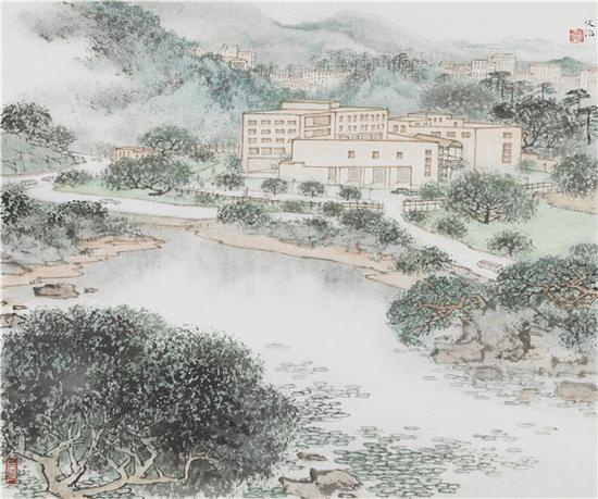 宋文治 建设中的深圳画院 60×80cm  纸本水墨  1995